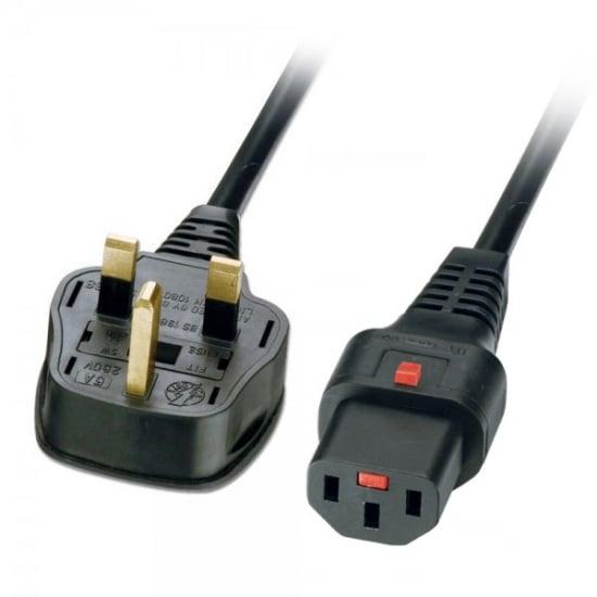 2m Mains Power Cable, UK 3 Pin Plug to Locking IEC C13, Black