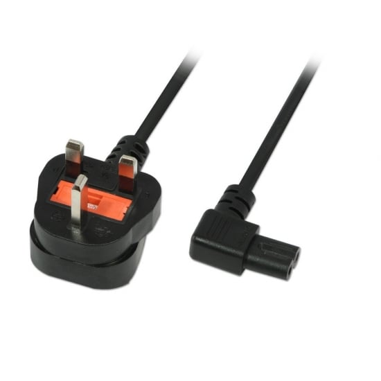 2m Mains Power Cable, UK 3 Pin Plug to Right Angled IEC C7 (Fig 8), Black