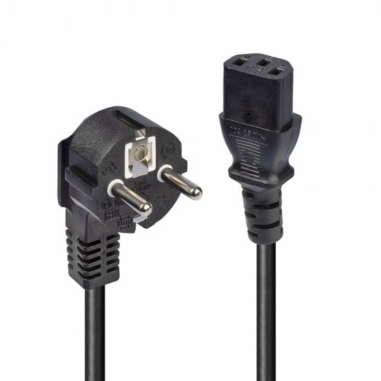2m Schuko 2 Pin Plug to IEC C13 Power Cable, Black