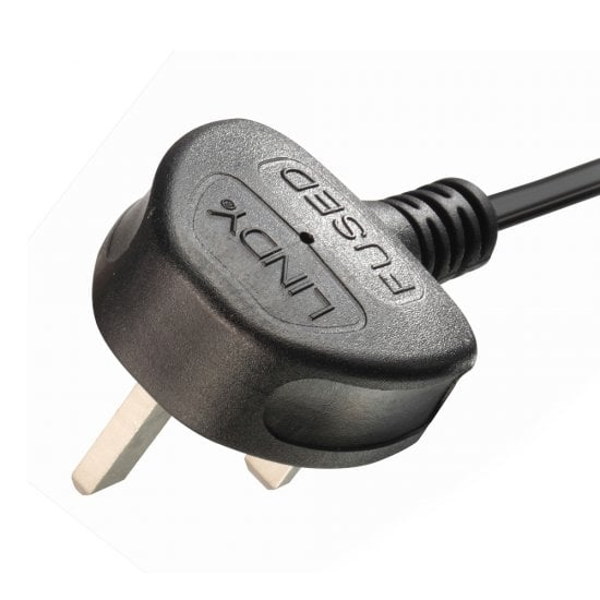 2m UK 3 Pin Plug To IEC C13 Mains Power Cable, Black