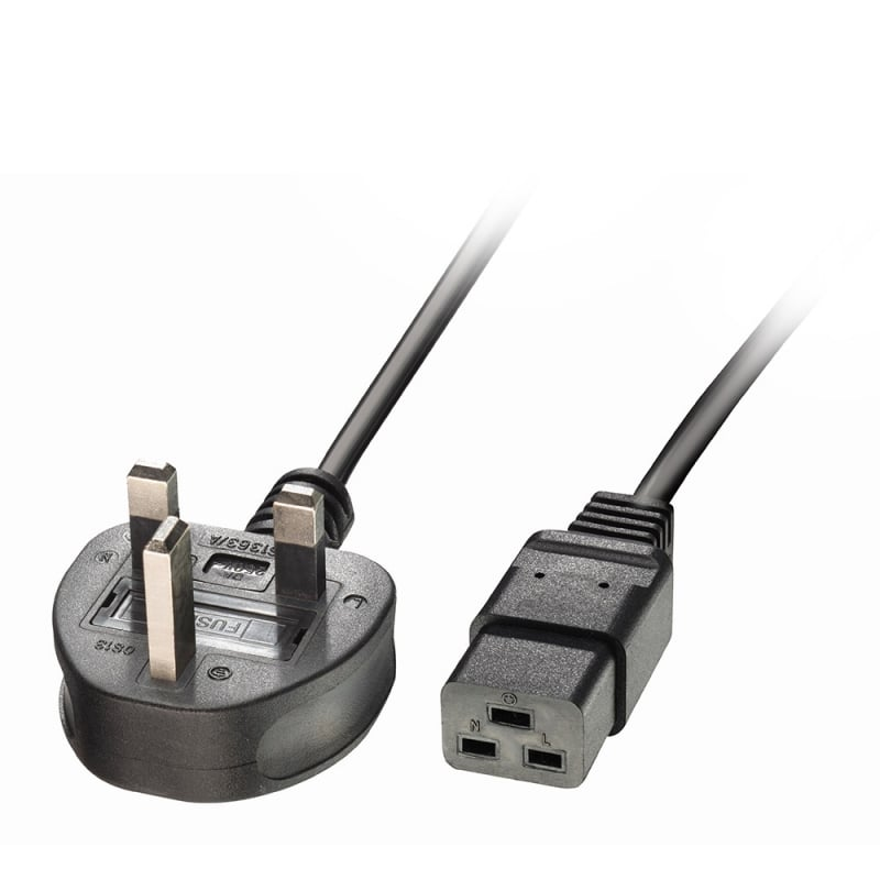 2m UK 3 Pin Plug to IEC C19 Power Cable. Black