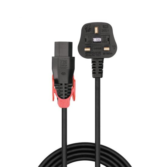 2m UK Plug to Easy Pull Locking C13 Mains Power Cable, Black