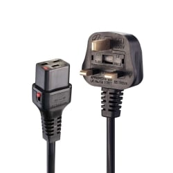 2m UK Plug to Locking C19 Mains Power Cable, Black