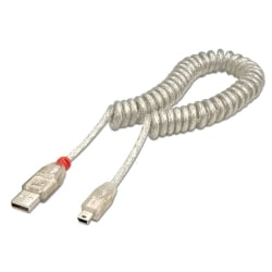 2m USB 2.0 Coiled Cable, Type A to Mini B, Transparent