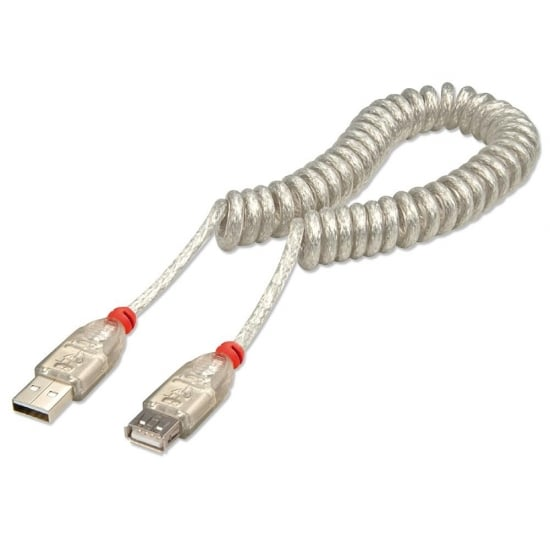 2m USB 2.0 Coiled Extension Cable, Type A to Type A, Transparent