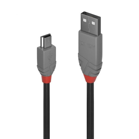 2m USB 2.0 Type A to Mini-B Cable, Anthra Line