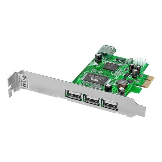 3 + 1 Port USB 2.0 Card, PCIe - Molex power connector