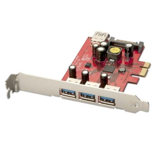 3 + 1 Port USB 3.0 Card, PCIe - SATA power connector