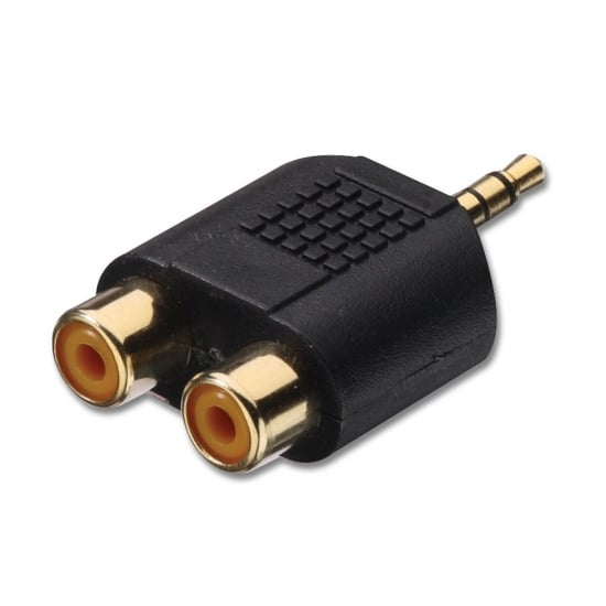 3.5mm Stereo Jack Male to 2 x RCA/Phono Female Audio Adapter