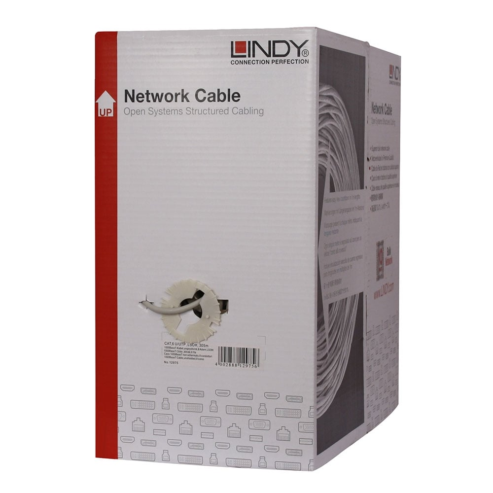 305m Easy Pull Box Cat6 U Utp Solid Core Bulk Network Cable Ls0h Structured Wiring Enclosure Uk Grey