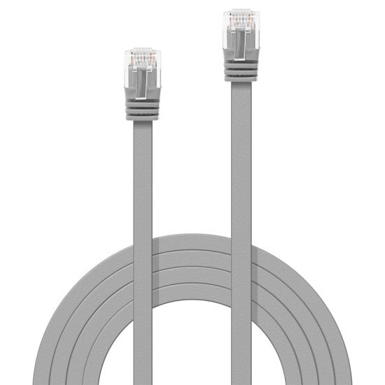 3m Cat.6 U/UTP Flat Network Cable, Grey