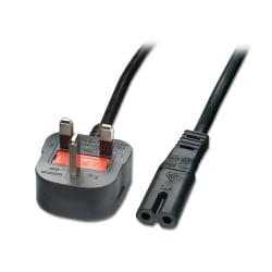 3m Mains Power Cable, UK 3 Pin Plug to IEC C7 (Fig 8), Black