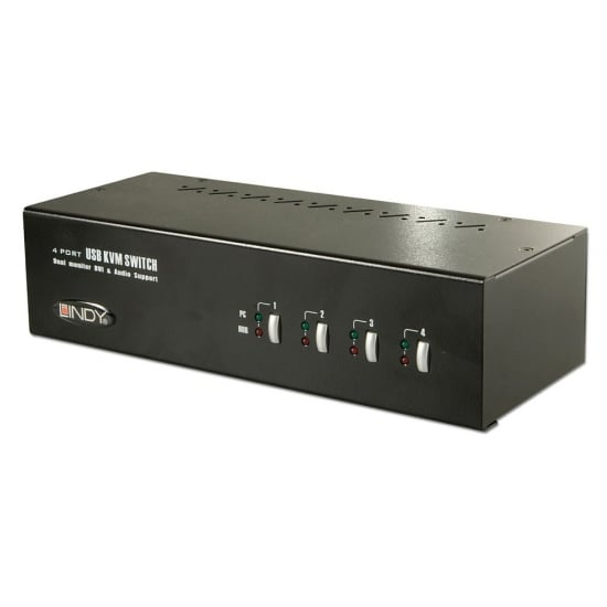 4 Port Dual Head Dual Link DVI-I KVM Switch Pro with TTU