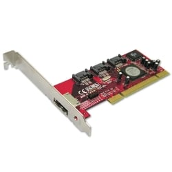 4 Port SATA II Card with eSATA Port, Low Profile Option, RAID Function, PCI