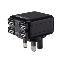 4 Port USB UK Mains Charger, 1A / 10.5W, Black