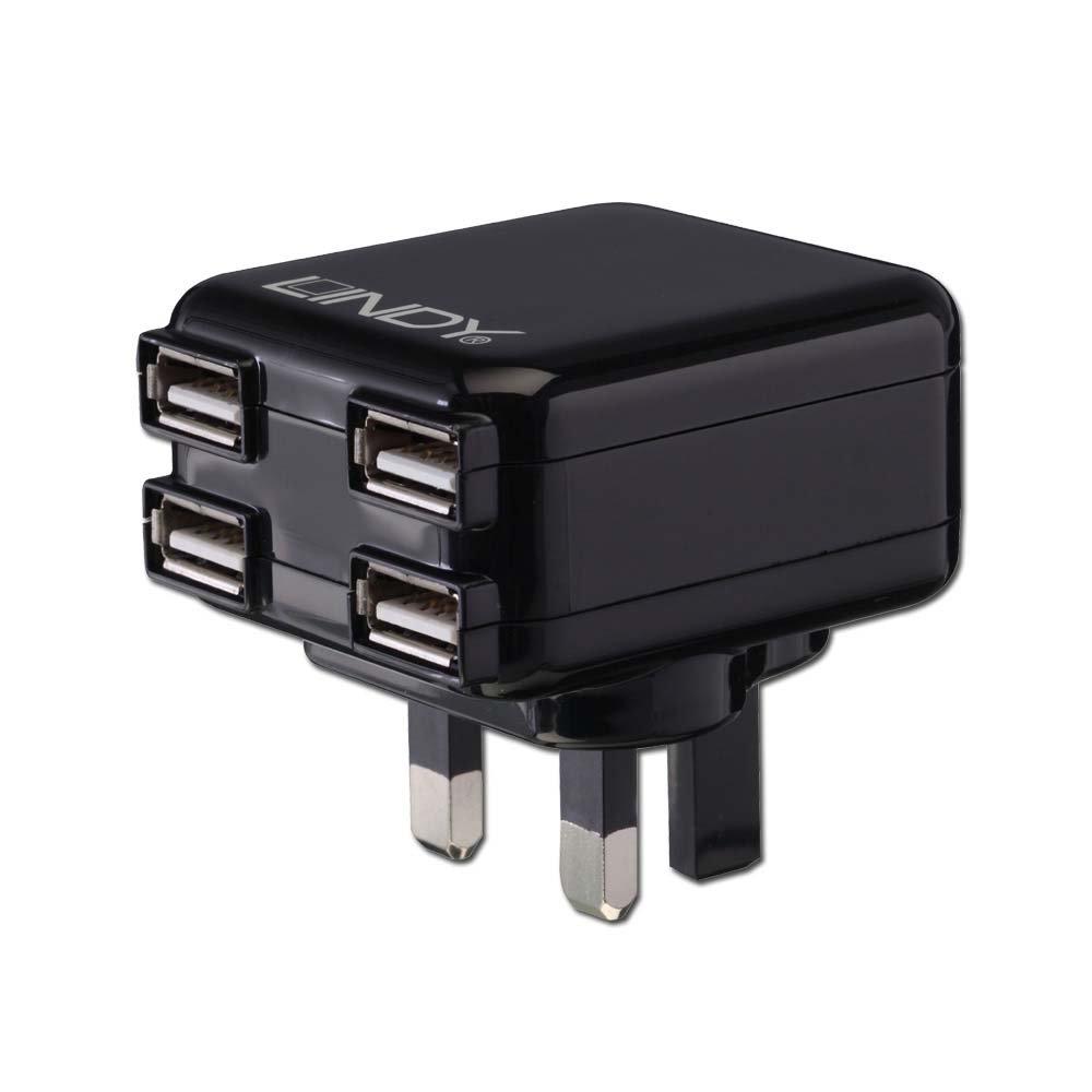 lindy 4 port usb uk mains charger black
