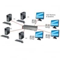 4 Port VGA & Audio Matrix
