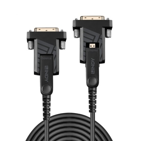 40m Fibre Optic Hybrid Micro-HDMI 18G Cable with Detachable HDMI & DVI Connectors
