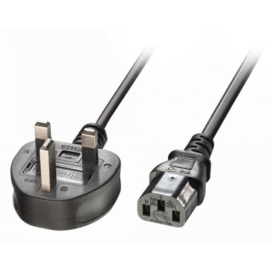 5m UK 3 Pin Plug to IEC C13 mains power Cable, Black