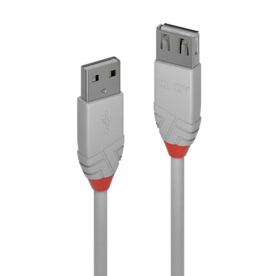 5m USB 2.0 Type A Extension Cable, Anthra Line, Grey