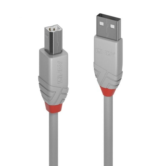 5m USB 2.0 Type A to B Cable, Anthra Line, Grey