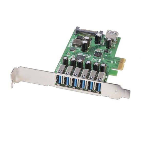 6+1 Port USB 3.0 Card, PCIe - SATA power connector