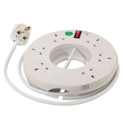 6 Way Circular Extension Strip, White, 2m