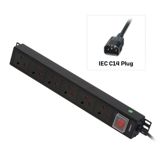 6 Way UK Mains Sockets, Vertical PDU with IEC Mains Cable