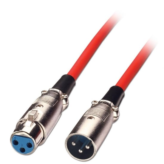 6m XLR Cable - Male to Female, Red