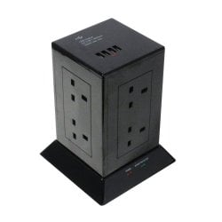 8-Way UK Mains Power Extension with 4 x USB Type A Ports, Black