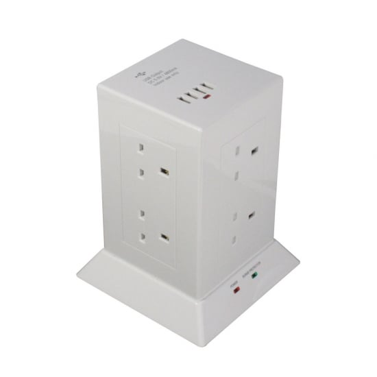 8-Way UK Mains Power Extension with 4 x USB Type A Ports, White