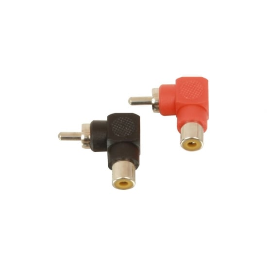 90 Degree Red/Black Phono to Phono (RCA) Adapter