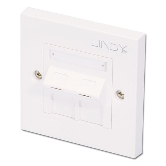CAT5e Single Wall Plate with 2 x Angled RJ-45 Shuttered Socket, Unshielded