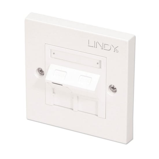 CAT6 Single Wall Plate with 1 x Angled RJ-45 Shuttered Socket, Unshielded