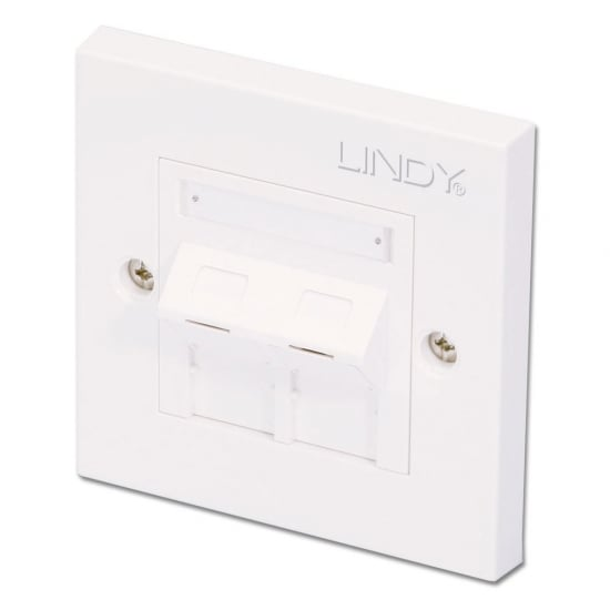 CAT6 Single Wall Plate with 2 x Angled RJ-45 Shuttered Socket, Unshielded