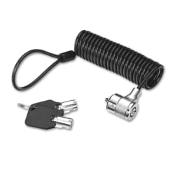 Coiled Notebook Security Cable, Barrel Key Lock