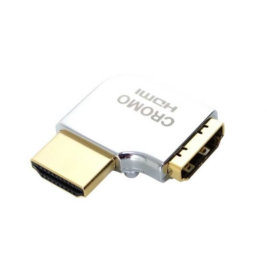 CROMO HDMI Male to HDMI Female 90 Degree Right Angle Adapter - Left