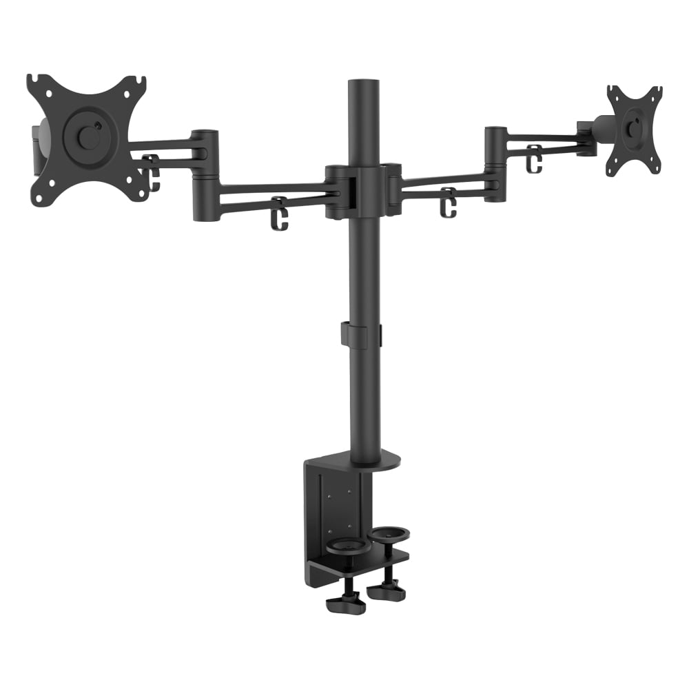 Double Lcd Monitor Arm With Pole And Desk Clamp From