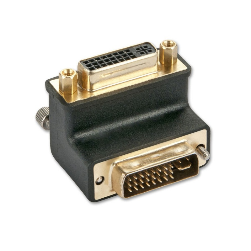DVI-I Male to DVI-I Female 90° Adapter Down