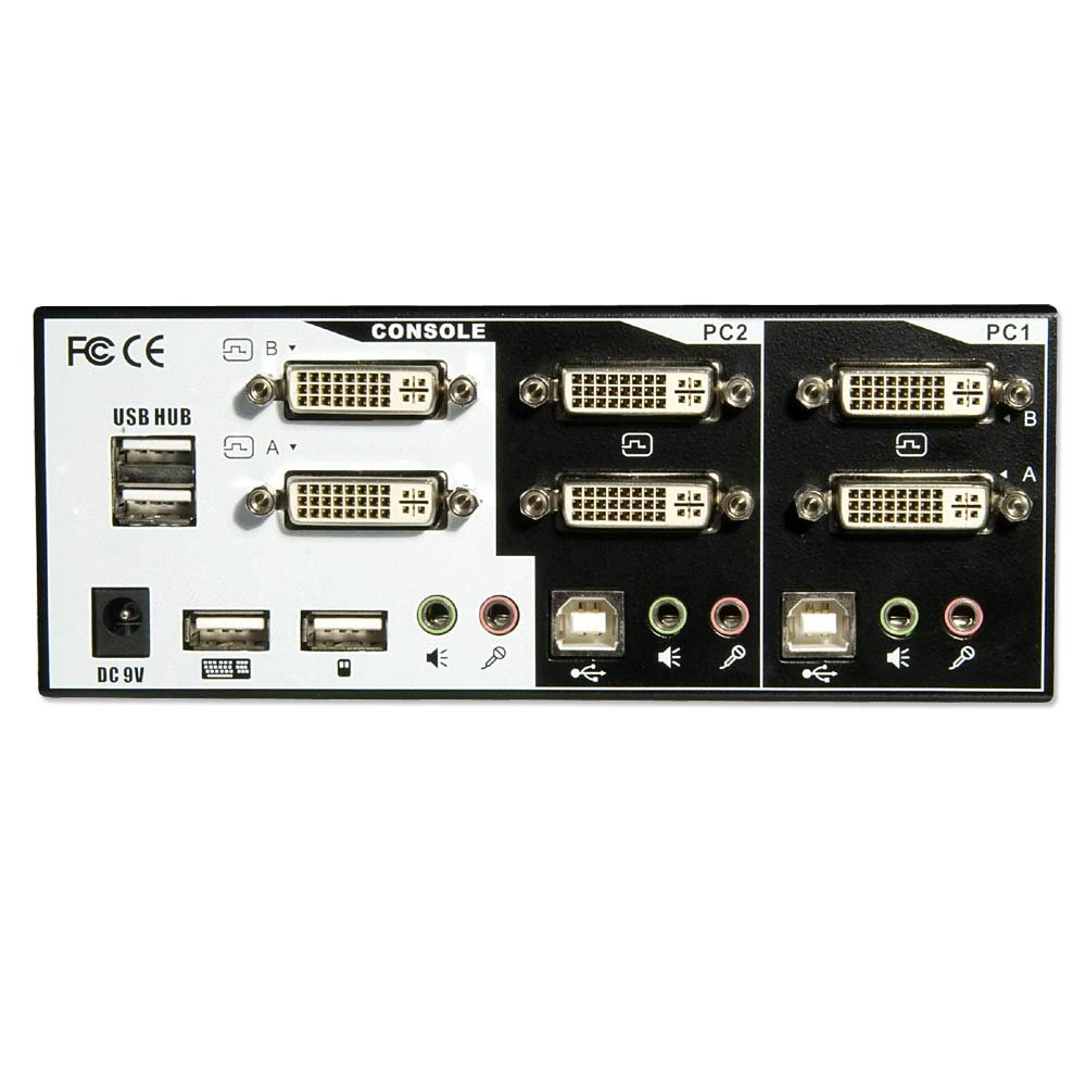 DVI KVM Switch Pro 2 Port Dual Head Link