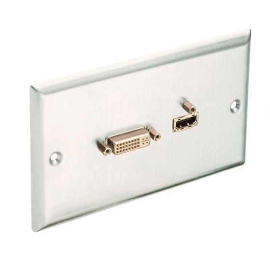 HDMI & DVI Faceplate, Premium, Brushed Steel
