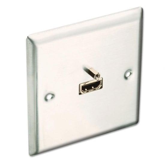HDMI Faceplate, Premium, Brushed Steel