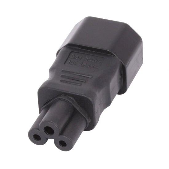 IEC C14 3 Pin Socket To IEC C5 Cloverleaf Plug Adapter