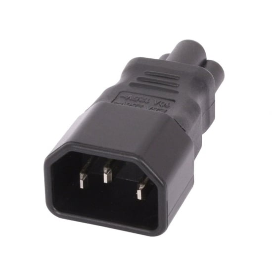 IEC C14 3 Pin Socket To IEC C5 Cloverleaf Plug Adapter