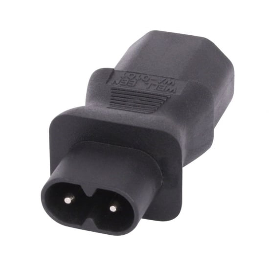 IEC C8 Figure 8 Socket to IEC C13 3 Pin Plug Adapter