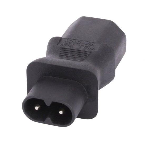 IEC C8 Figure 8 Socket to IEC C13 3 Pin Plug Adapter