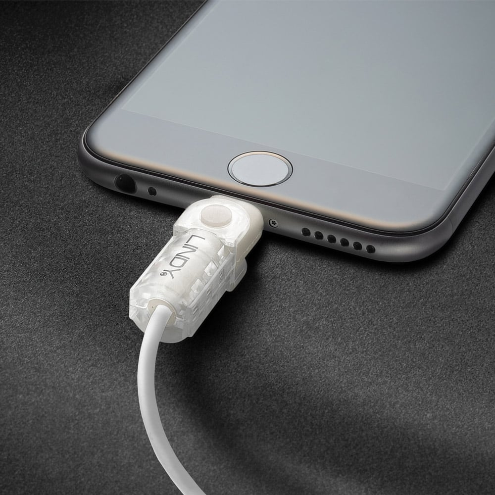 Retractable Power Cord >> Lightning Cable Protector Kit, White - from LINDY UK