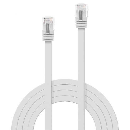 10m Cat.6 U/UTP Flat Network Cable, White