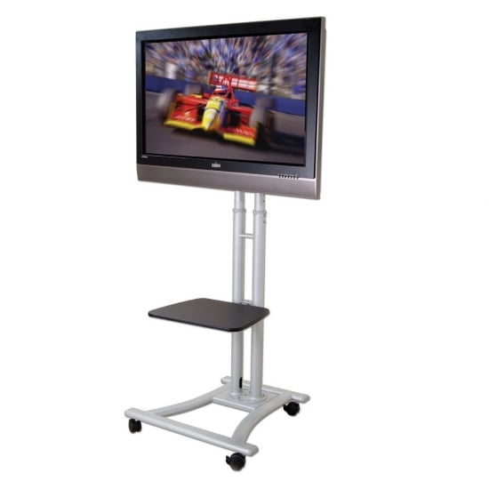 """Mobile Plasma, LED & LCD Trolley Stand mount for up to 50kg / 65"""" Screens, Silver"""