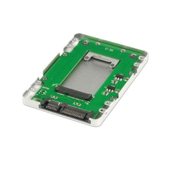 """mSATA SSD to 2.5"""" SATA Drive Enclosure, Silver"""